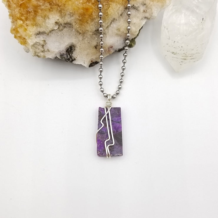 Sugilite Necklace, Silver Wire Wrapped Sugilite Pendant, Rare Crystals