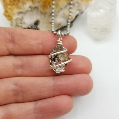 Herkimer Diamond Quartz Necklace, Silver Wire Wrapped Herkimer Pendant