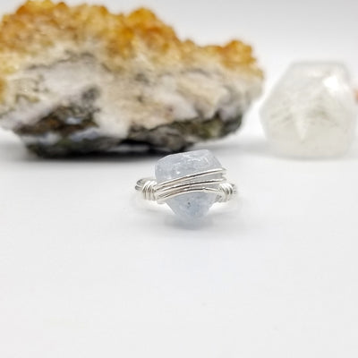 Raw Celestite Ring, Sterling Silver Wire Wrapped Ring