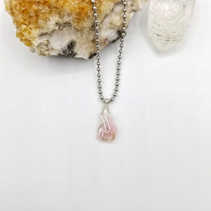 Pink Moonstone Necklace, Silver Wire Wrapped Moonstone Pendant