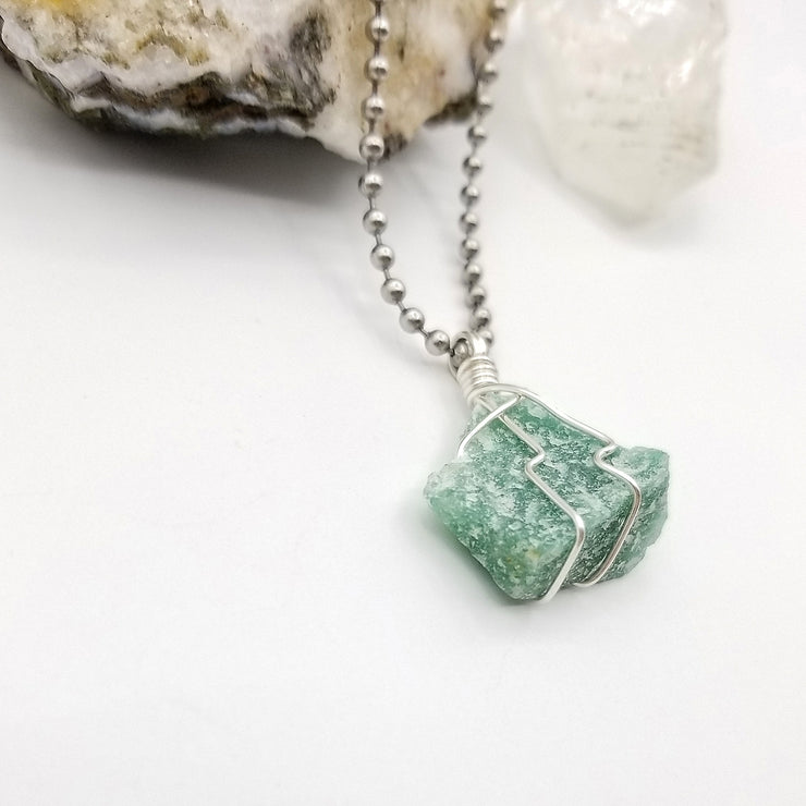 Green Aventurine Necklace, Silver Wire Wrapped Green Aventurine Pendant