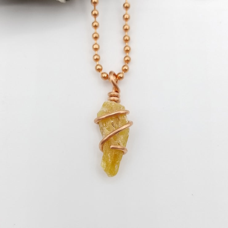 Honey Yellow Kyanite Pendant Necklace Copper Wire Wrapped