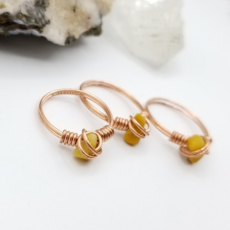 Orange Calcite Ring, Copper Wire Wrapped Ring