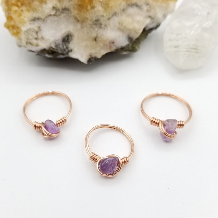 Amethyst Ring, Copper Wire Wrapped Ring