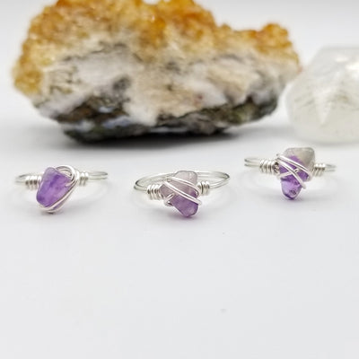Amethyst Ring, Sterling Silver Wire Wrapped Ring
