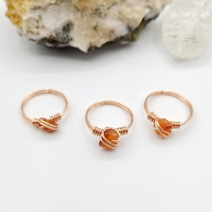 Raw Carnelian Ring, Copper Wire Wrapped Ring