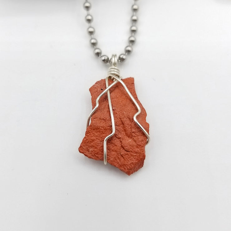 Red Jasper Necklace Wire Wrapped Pendant