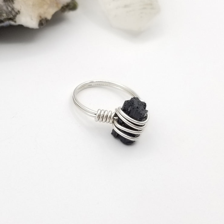 Raw Black Tourmaline Ring Silver Wire Wrapped