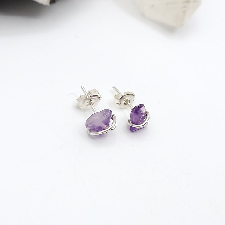 Amethyst Crystal Stud Earrings with Sterling Silver Wire