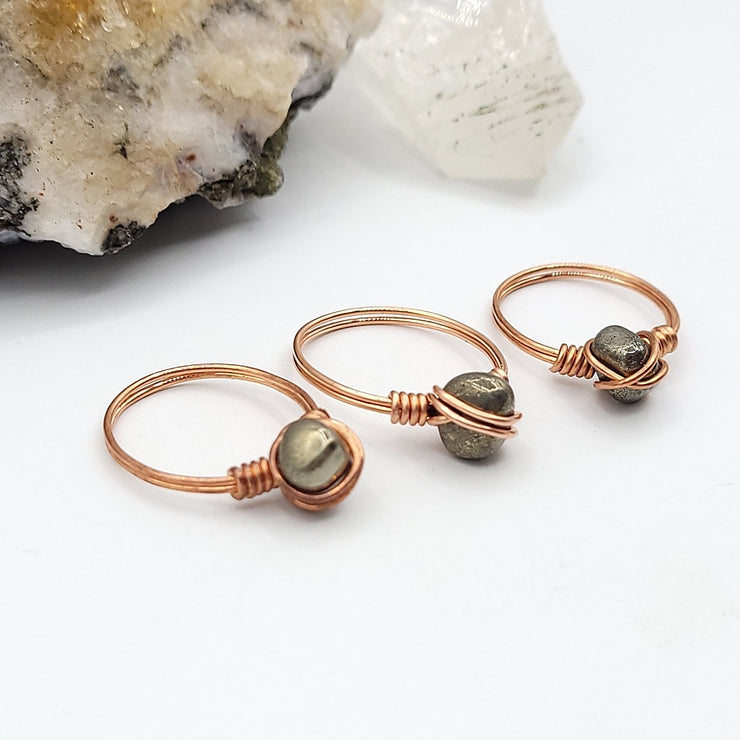Pyrite Ring, Copper Wire Wrapped Pyrite
