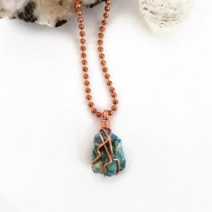 Chrysocolla with Shattuckite Crystal Necklace, Copper Wire Wrapped Crystal Healing Pendant