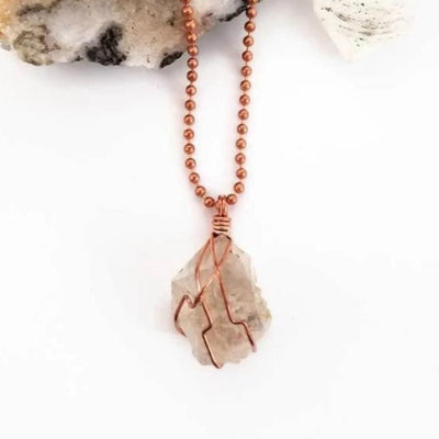Herkimer Diamond Necklace, Copper Wire Wrapped Herkimer Pendant