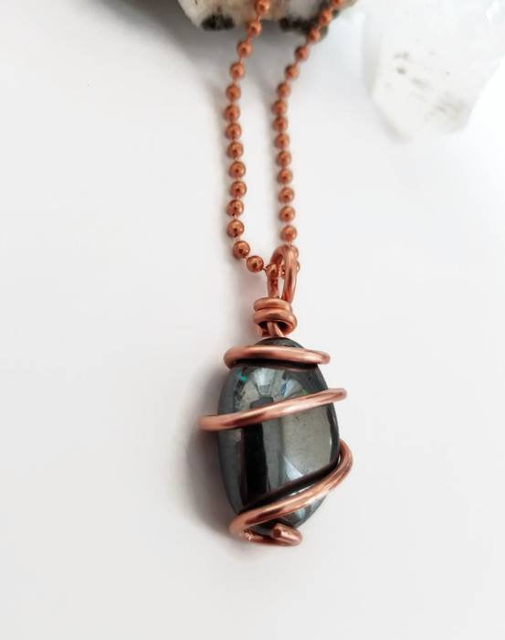 Hematite Necklace, Copper Wire Wrapped Hematite Pendant