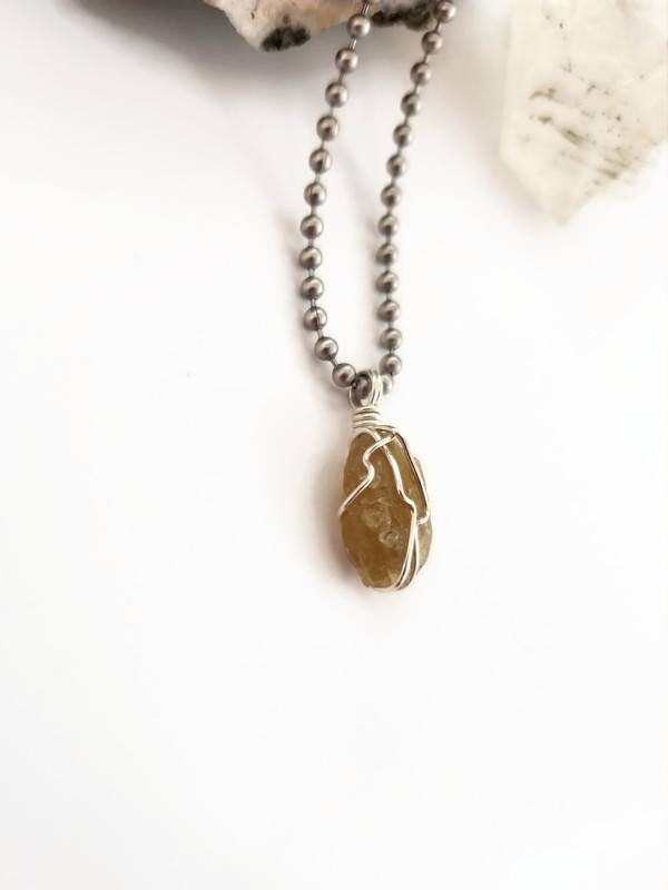 Dravite Necklace, Brown Tourmaline Wire Wrapped Pendant