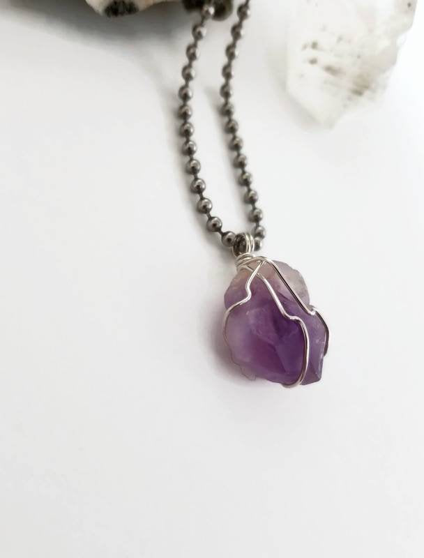 Amethyst Necklace, Silver Wire Wrapped Amethyst Pendant