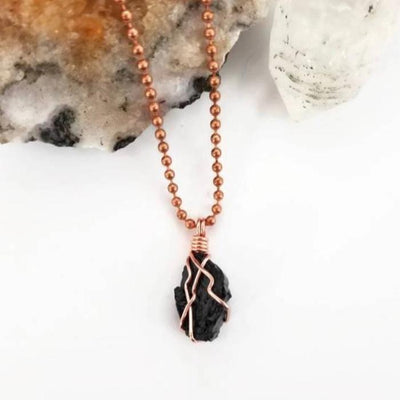 Black Tourmaline Necklace, Copper Wire Wrapped Black Tourmaline Pendant