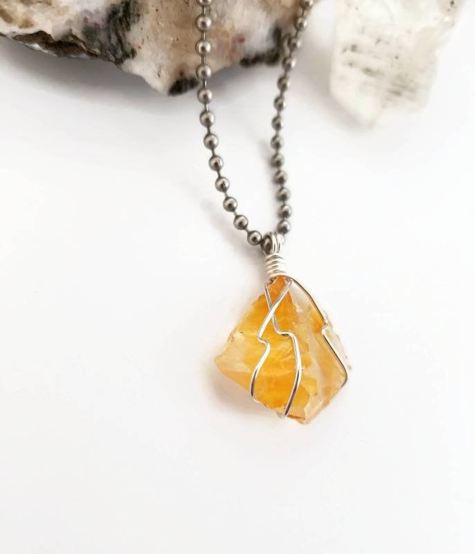 Golden Herkimer Diamond Quartz Necklace, Silver Jewelry Wire Wrapped Golden Healer Pendant