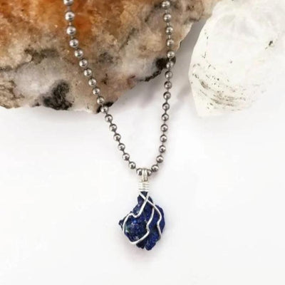 Azurite Necklace, Silver Wire Wrapped Azurite Pendant