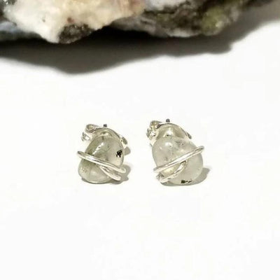 Prehnite Stud Earrings, Crystal Post Earrings