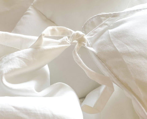 Our duvet cover's inner ribbon ties tied to the comforter's outer ringlet