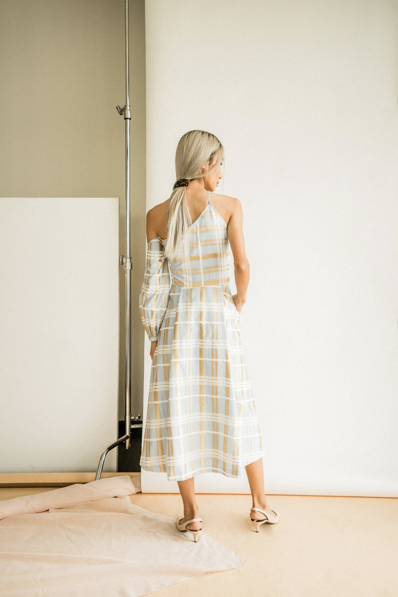 Colleen Dress in Sky Plaid