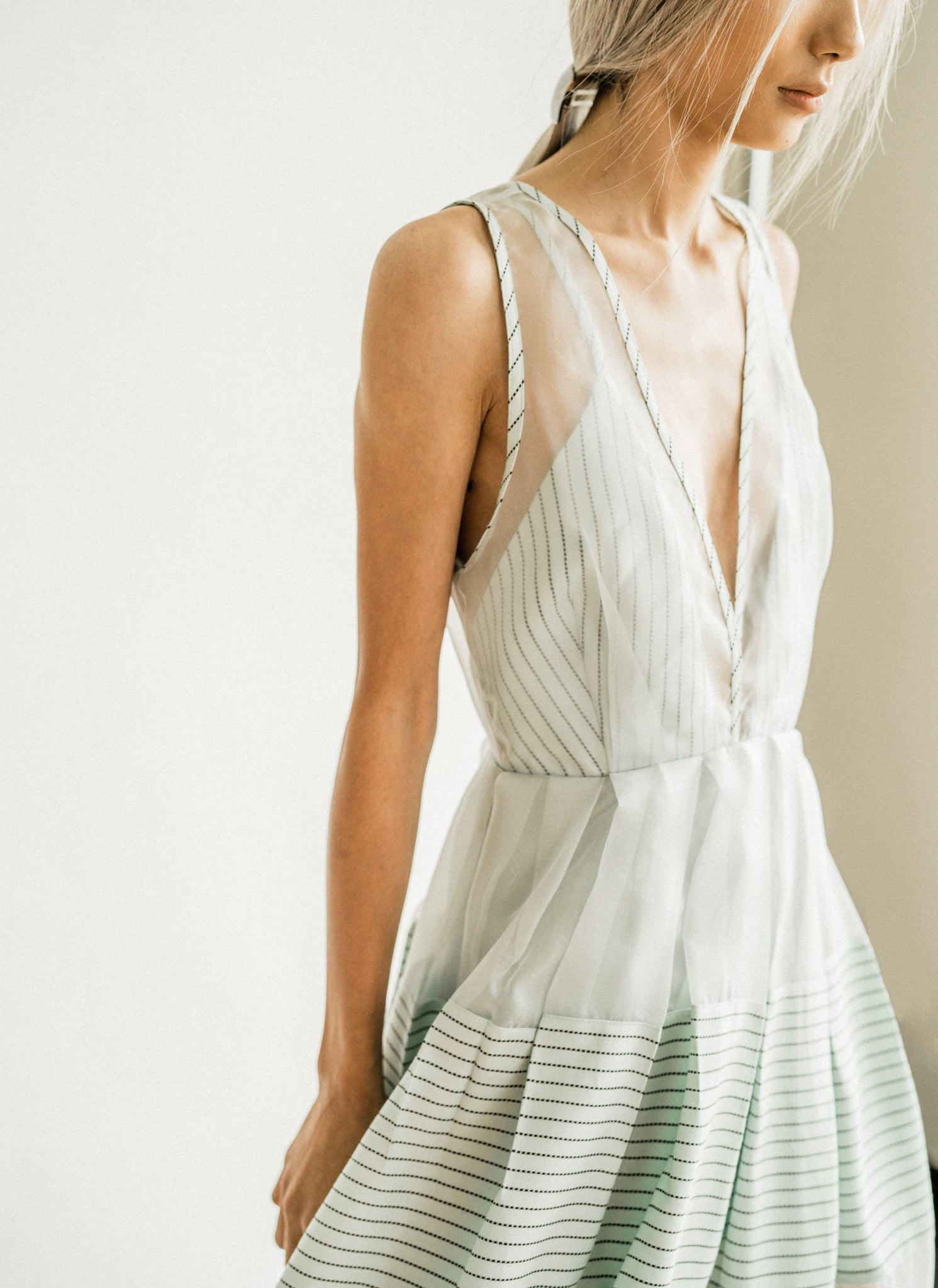Rosie Dress in Mint Stripe