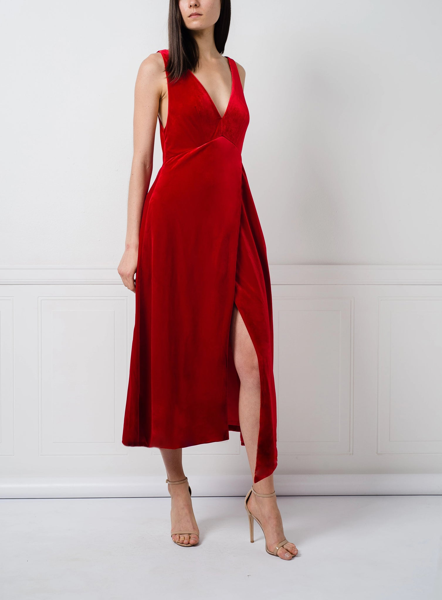 Maran Dress in Red Velvet