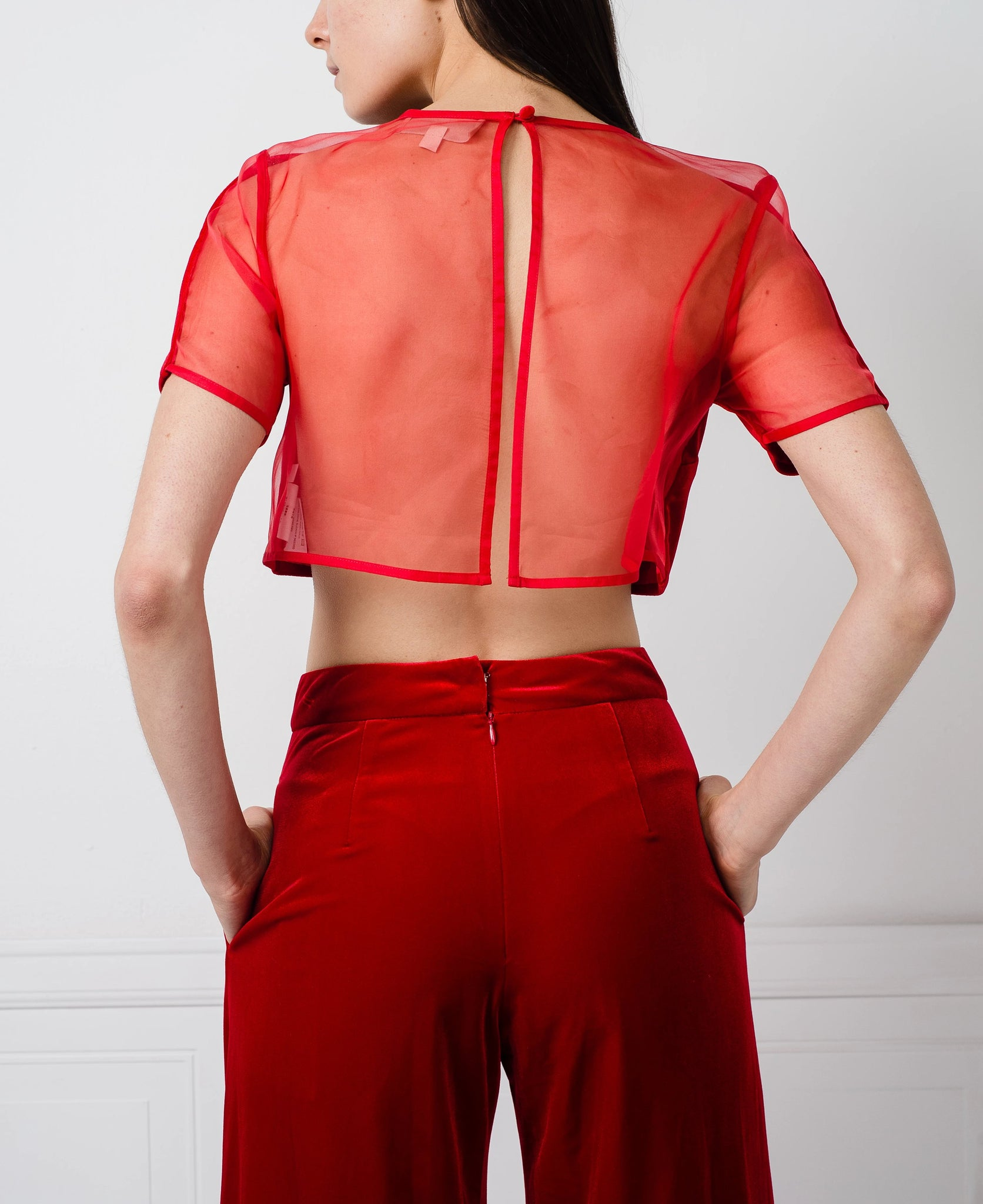 Lillian Top in Red Velvet