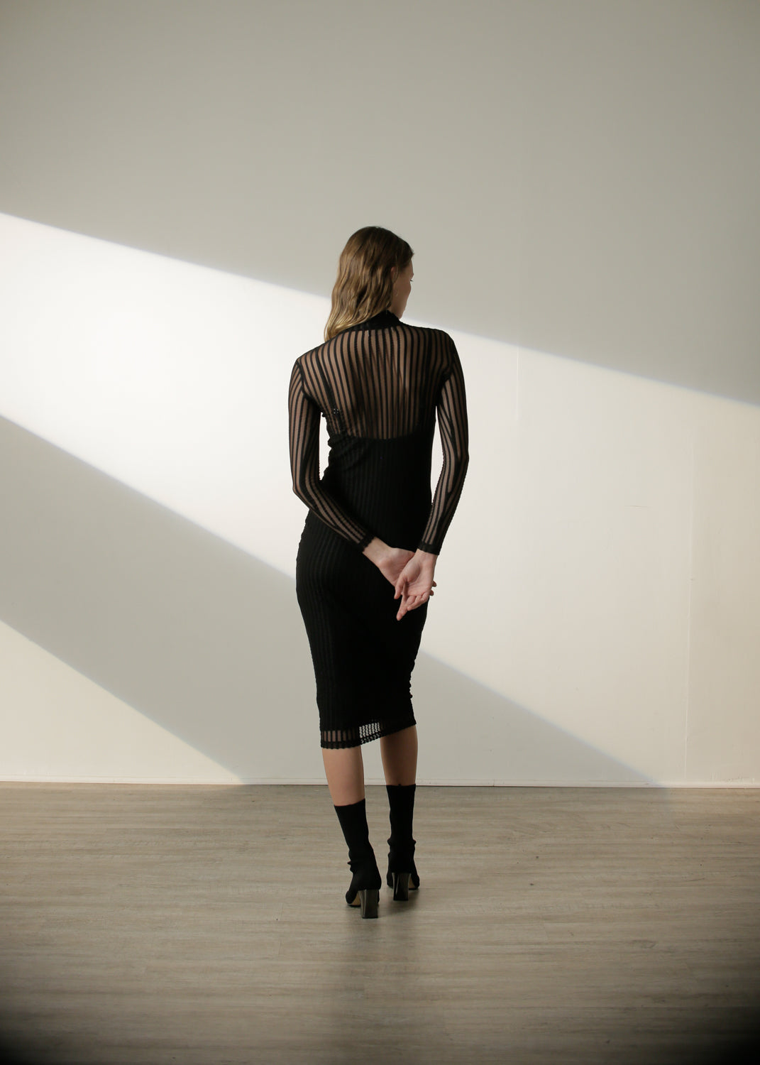 Margaux Dress in Black Stripe