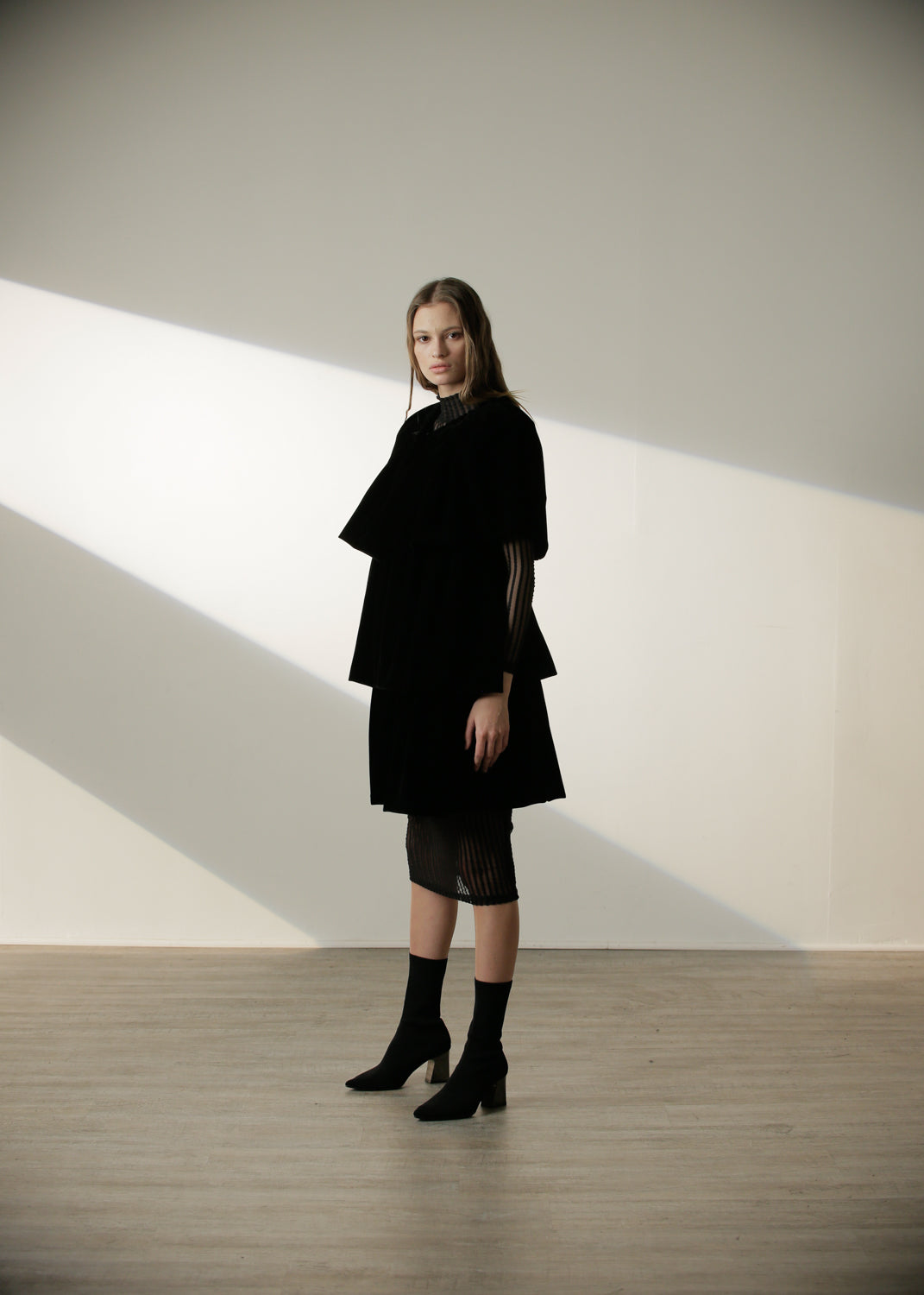 Rivas Ruffle Coat in Black Velvet