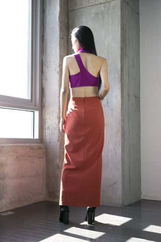 Olivia Midi Skirt in Rust
