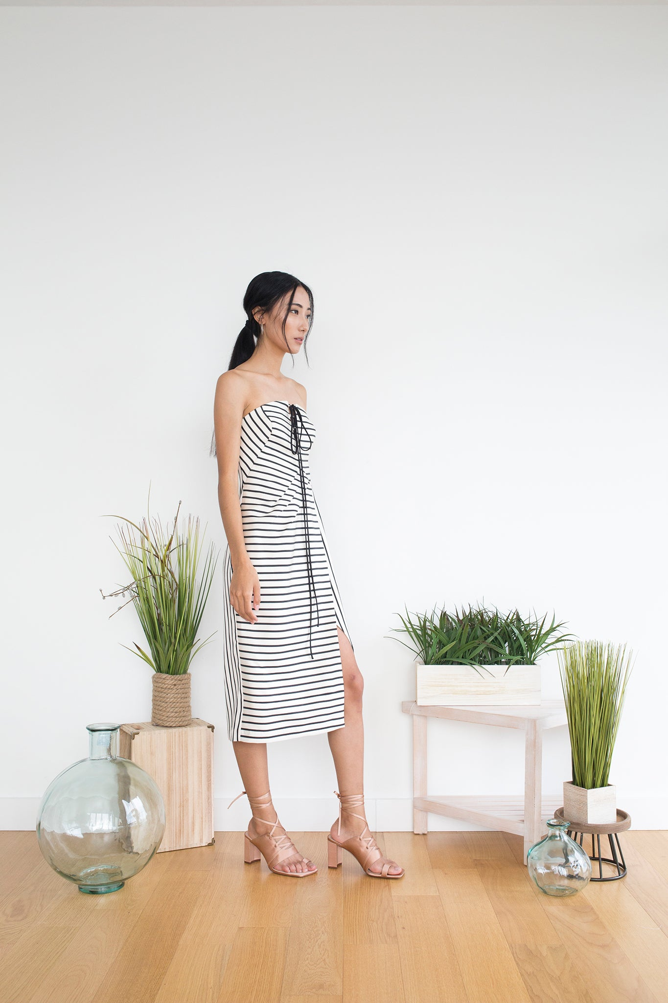Galloro Dress in Beige Stripe