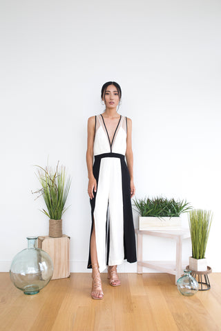 Brannie Jumpsuit in White Block
