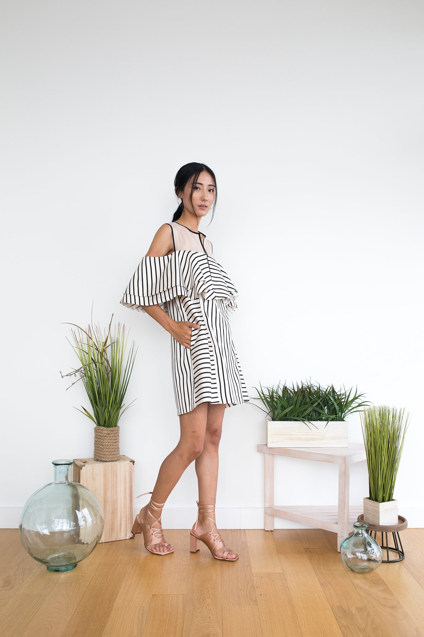Malia Dress in Beige Stripe