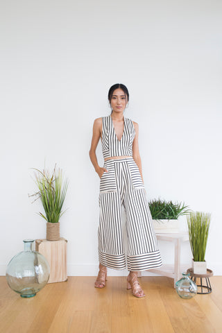 Bogdan Pant in Beige Stripe