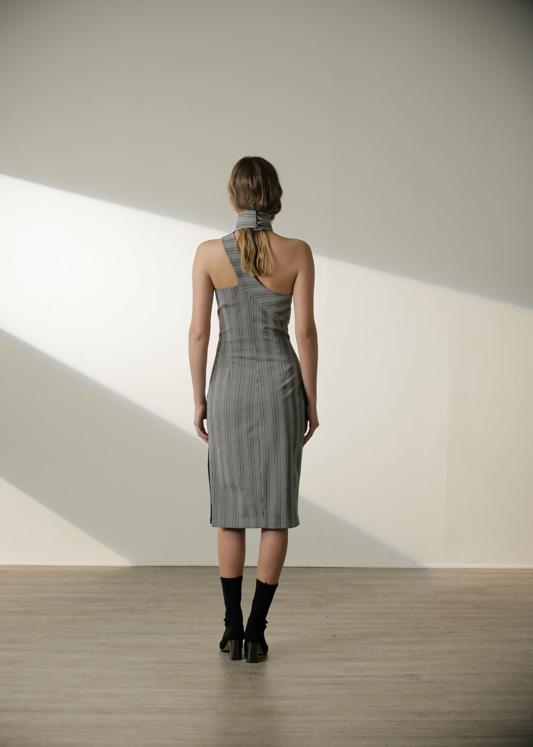 Olga Dress in Grey Plaid