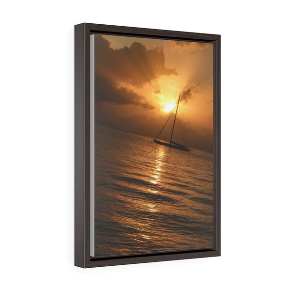 Sailboat Sunset - framed photo printed on canvas