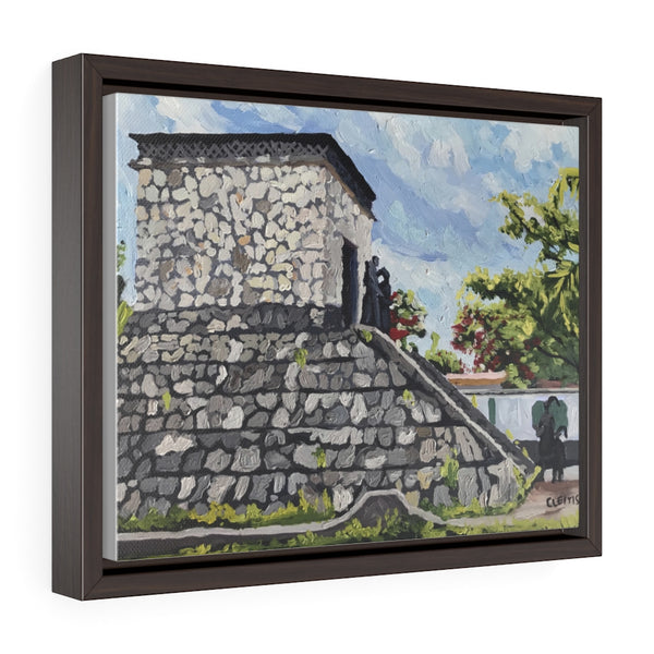 Mayan Monument - framed painting printed on canvas