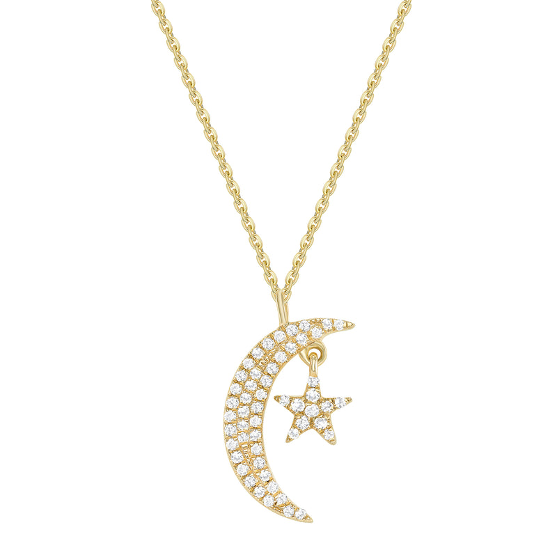 14k Gold Diamond Moon and Star Pendant and Chain