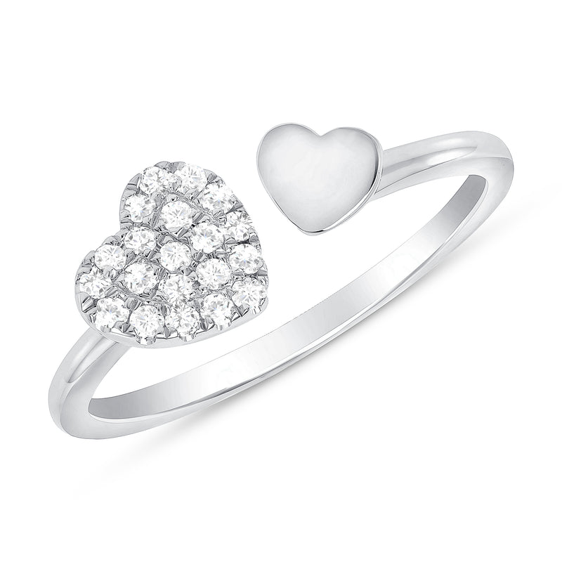 14k Gold Double Heart Diamond Ring
