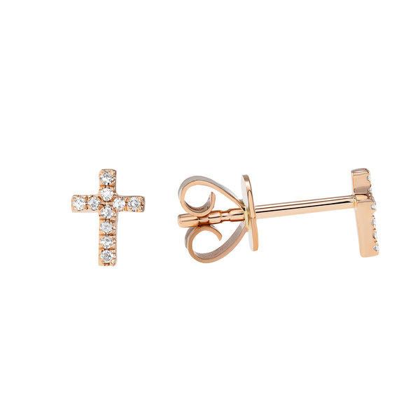14k Gold Diamond Cross Earrings