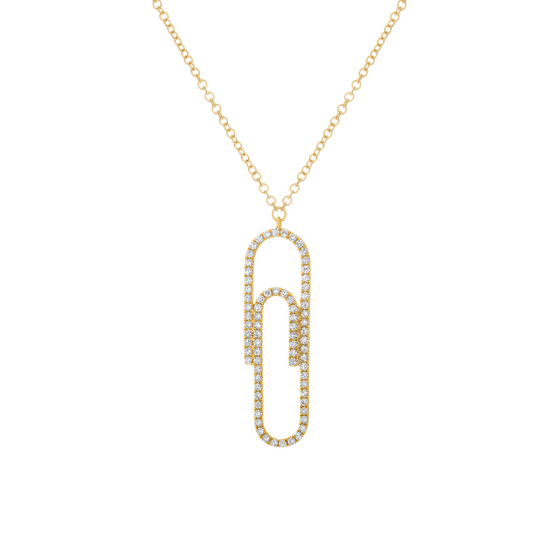 14k Gold Diamond Paper Clip Pendant