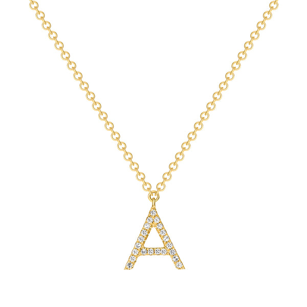 14K Gold Necklace With Your Choice of Initial Pendant