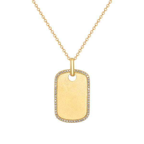 14k Gold Diamond ID Tag
