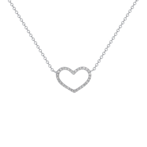 14k Gold Diamond Open Heart Pendant