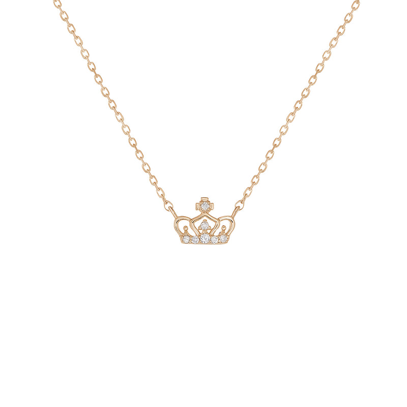 14k Gold Diamond Crown Pendant