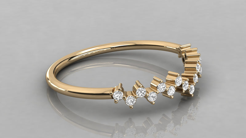 Gold V-Shaped Diamond Ring