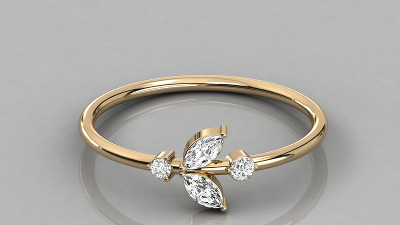 Gold Leaf Diamond Ring