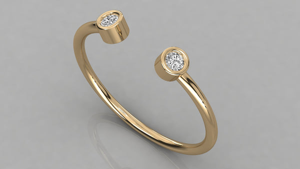 Gold Open Top Bezel Set Diamond Ring