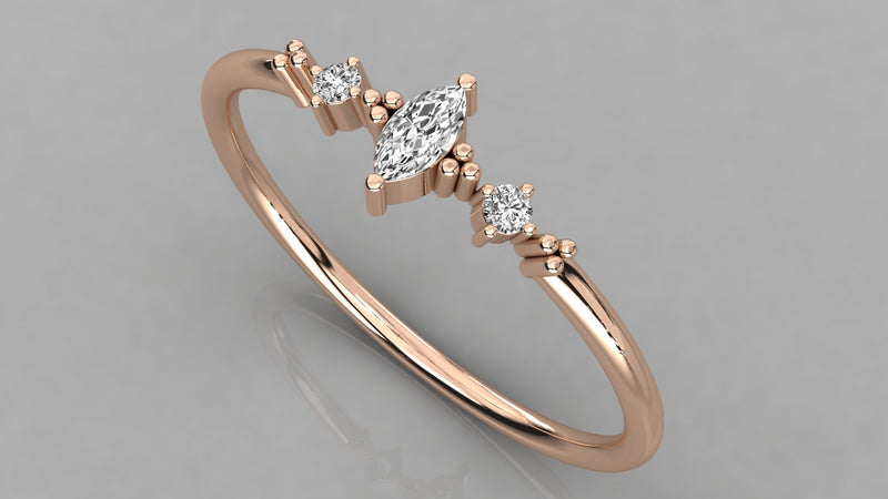 Gold Marquise Cut Diamond Ring